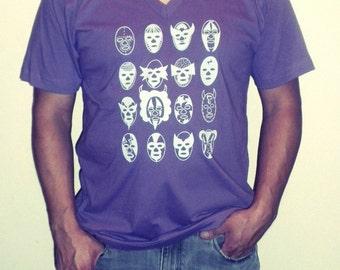 luchadores organic v neck tshirt sz l