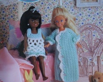 Slumber Party Baby Doll Nightie and Grannie Gown Crochet Pattern for 7 1/2 inch Fashion Dolls like Kelly, Kish Riley, Ginny and others