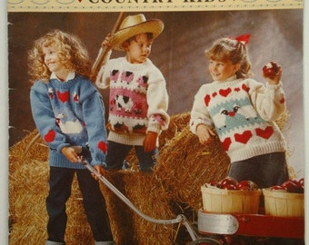 Bernat Country Kids 6 Knitting Patterns Leaflet No.1218 for Chunky Weight Yarns in Children's Sizes 6 to 14