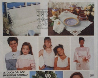 A Touch of Lace - Create Battenberg Lace McCalls Crafts Pattern No.3426 For Sheets, Pillowcases, Collars, etc.