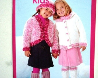 Twister Sisters Patons Kids Pattern Booklet 500812 Sweaters and Accessories to Knit for Girls Sizes 2 to 8