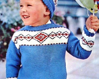 Children's Pullover & Cap and Dressing Gown Knitting Pattern by Mary Maxim No.1811A and 1811B