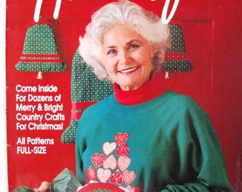 Country Handcrafts Magazine Holiday 1992 Dozens of Merry & Bright Country Crafts for Christmas All Patterns Full Size