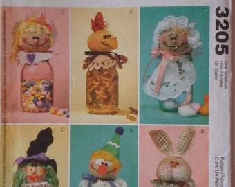 McCalls 3205 Crafts Uncut Pattern for Jar Toppers - Clown, Bunny, Girl, Witch, Chicken, Baby