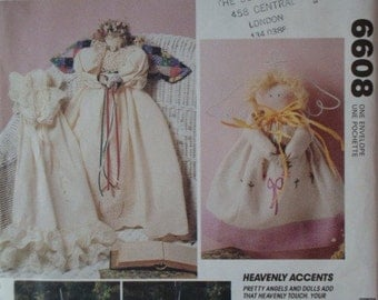 McCalls 6608 Heavenly Accents UNCUT Pattern for Pretty Angels and Dolls in 9, 11 and 25 inch sizes