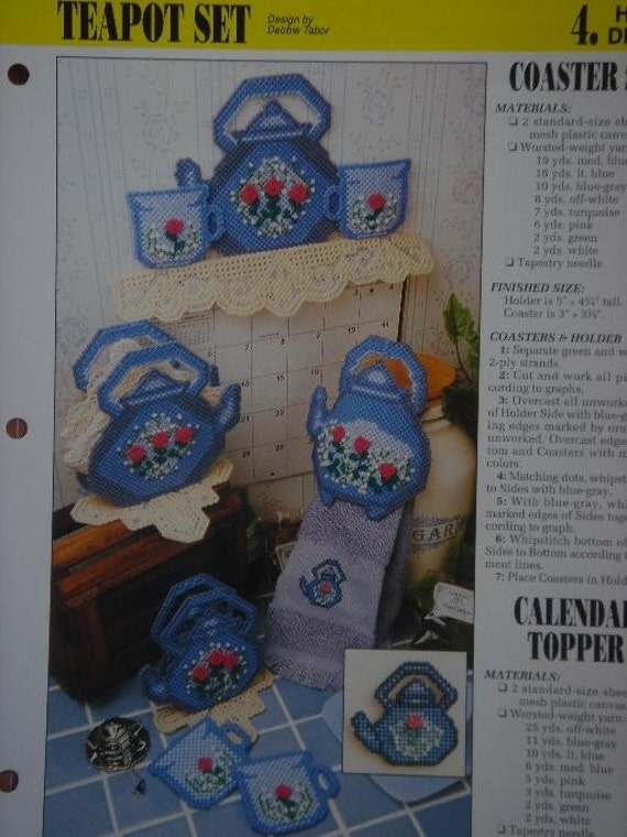 TEAPOT SET and TEATIME MAGNETS plastic canvas PATTERNS Reserved for Sharon