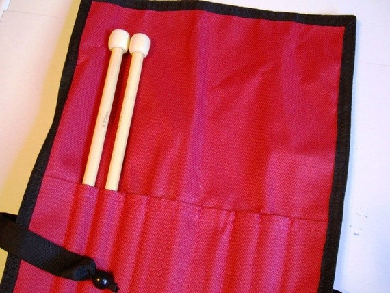 Knitting Needle Case Red Canvas Stores Up to 5 Pairs of Straight Needles