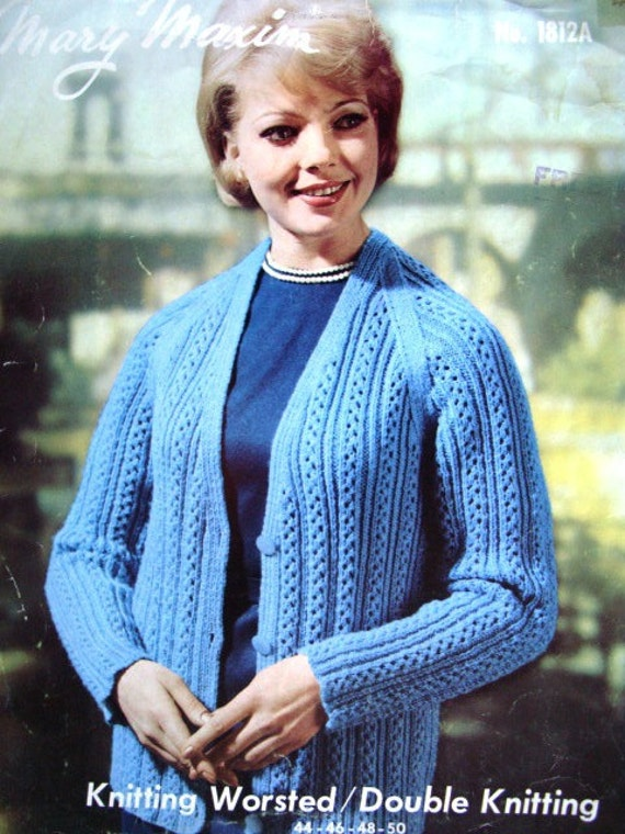 Knitting Patterns For Women : Womens Cardigan or Jacket Plus Sized Knitting Pattern by