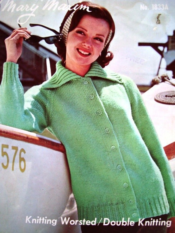 Ladies' Cardigan or Pullover Knitting Pattern by Mary Maxim No.1833A and 1833B
