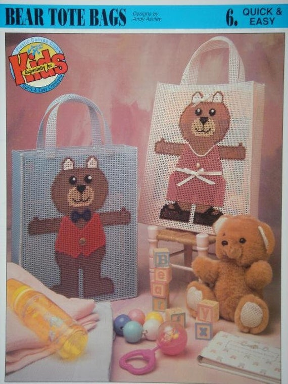 Bear Tote Bag Plastic Canvas Pattern with Free Shipping