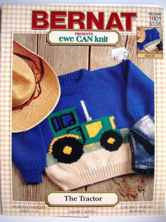 Knitting Pattern With Tractor Motif : The Tractor Bernat No.1801 Knitting Pattern Family Sizing