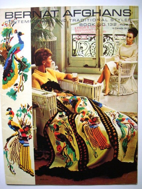 Bernat Afghans Pattern Book No.132 Contemporary & Traditional Styles - Embroidered Heirloom Designs to Knit or Crochet
