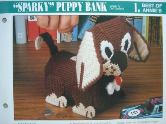 SPARKY PUPPY BANK plastic canvas PATTERN from Annie's International