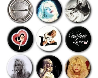 COURTNEY LOVE - Pinback Buttons (set of 8)