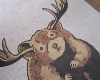 The Small-Pawed Moose - Antlers Animal Forest Print