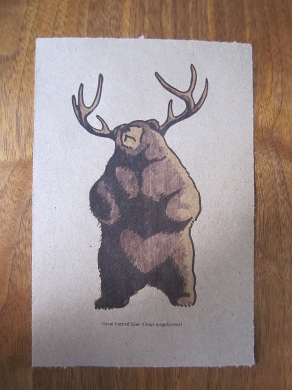 The Great Horned Bear - Antlers Animal Forest Print