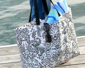 Large Lined Oilcloth Tote Bag Reversible Market Beach Travel Bag
