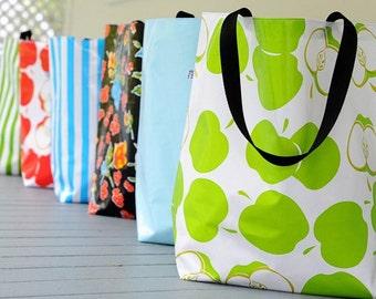 market tote RETIRED PRINTS // oilcloth grocery bag - market bag - teacher gift