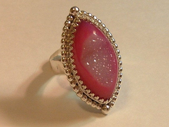 Pink Marquise Druzy Agate and Sterling Silver Ring