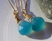 Isla Earrings, Sea Blue Chalcedony, Gold Fill