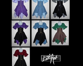 Custom Color and Size Elf Fairy Princess Fantasy Waist Cincher Corset Set Includes Chemise Top, Two Jagged Skirts