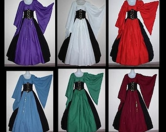 Custom Size and Color -  Dagget Sleeve Fantasy Cincher Costume set Includes Top and Panel Skirt Great for the Faire