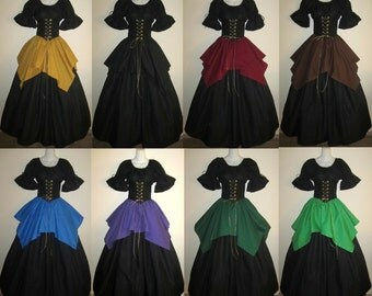Choose color - Full Circle Jagged Skirt choose size and color - Elastic or Drawstring XS S M L XL 2X 3X by LoriAnn Costume Designs