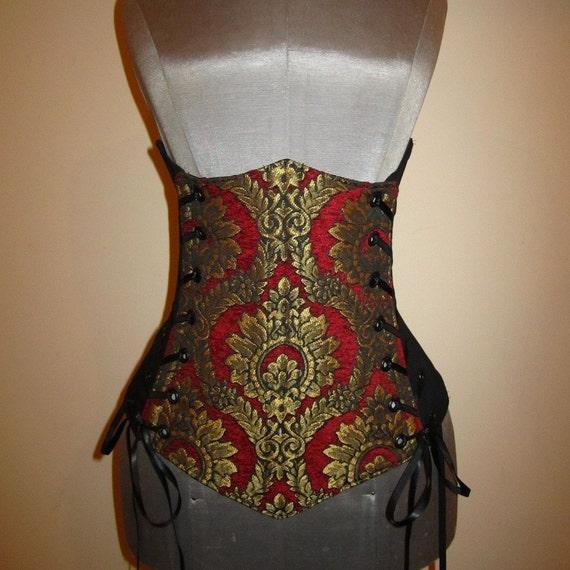 Last One  - Custom Size - Red, Black and Gold Ornate Damask Design Under-Bust Corset