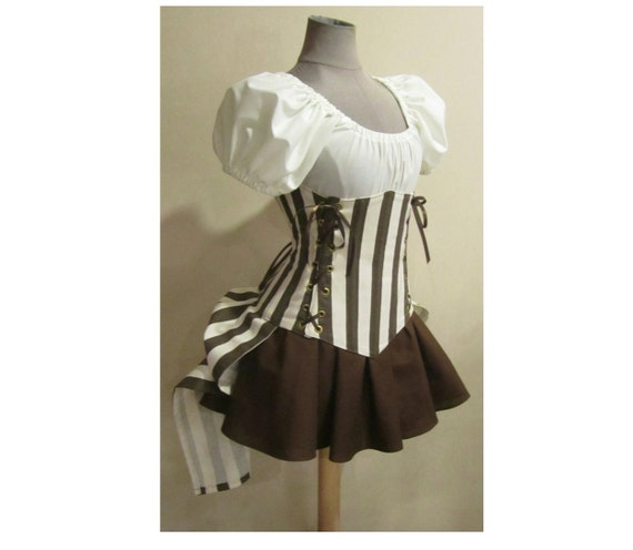 Last one - Steampunk Brown Cream Stripe Under Bust Corset and Add-A-Bustle, Puff Sleeve Top, Mini Skirt by LoriAnn Costume Designs