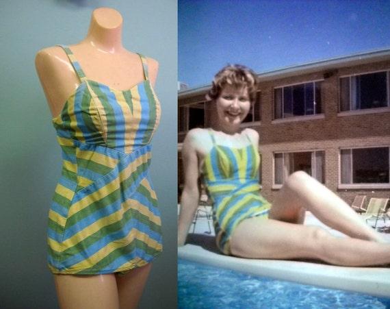 r e s e r v e d for noonyrocker // Vintage 1960's Striped Jantzen Swimsuit & Photo - S/M -