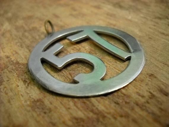 """Vintage 1950s Silver Pendant """"57"""""""