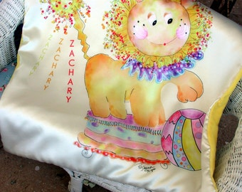 Personalized Baby Blanket whimsical Mc Lion  with name ZACHARY perosnalized one of a kind by Rosanna Hope for Babybonbons