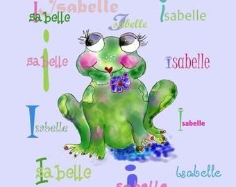 Francine La Froggie Charmeuse personalized Baby Blanket with the name ISABELLA  by Rosanna Hope for Babybonbons