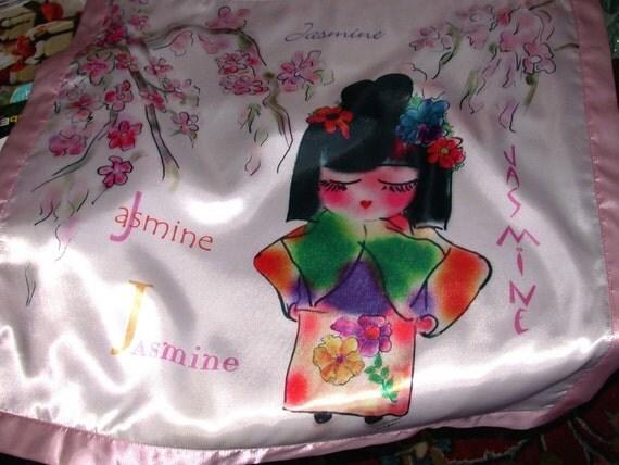 Jazzy Jasmine personalized Charmeuse Baby Blanket  with the name JASMINE PERSONALIZED by Rosanna Hope For Babybonbons