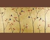 "ORIGINAL landscape  acrylic painting gold Textured Palette Knife wall Art "" Autumn Birds"" by QiQiGallery"