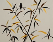 Bird On Bamboo By QIQIGALLERY