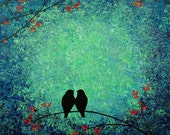 """Original palette knife heavy texture abstract  painting """"love bird"""" 24x24"""