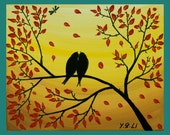 """Original Modern Abstract Acrylic Palette Knife Painting Landscape """"love birds and dragonfly"""" by qiqigallery"""