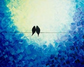 """36x24 Original Modern Abstract Heavy Texture Impasto Painting Birds Landscape Wall Decor """"I Love You"""" by QIQIGALLERY"""
