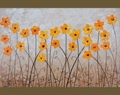 """36"""" Original Modern Abstract Heavy Texture Palette Knife Gallery Canvas Painting Flower Landscape Wall Decor """"Yellow Poppies"""""""