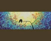 """Original Modern Abstract Heavy Texture Impasto Palette Knife Painting Landscape Love Birds on Wire Wall Décor """"Whispering"""" by QIQIGALLERY"""
