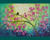 """Reserved - Original Abstract Heavy Texture Impasto Palette Knife Painting  Landscape """"Love Birds and Cherry Blossom 7"""" By qiqigallery"""