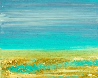 "Modern Abstract original art seascape painting Heavy Texture Impasto Mixed Acrylic Painting ""By the sea"" by QIQIGALLERY"