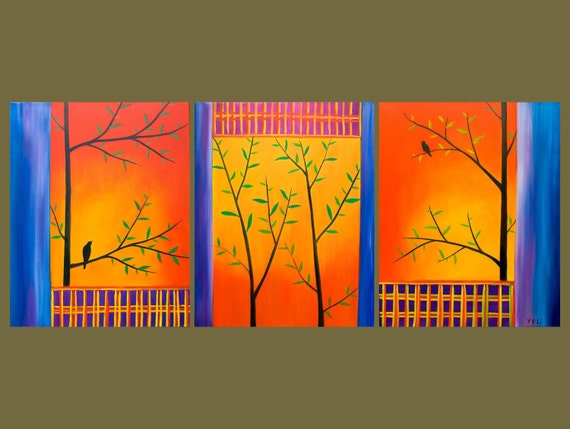 """Huge Orignal Oil Painting Landscape Tree Branches Bird """"The Sun is Setting"""" by QIQIGALLERY"""