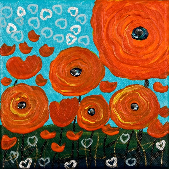 """Red poppy Painting Original Modern Contemporary Flower Wall Decor Heavy Texture """"Happy Poppies"""" by QIQIGALLERY"""
