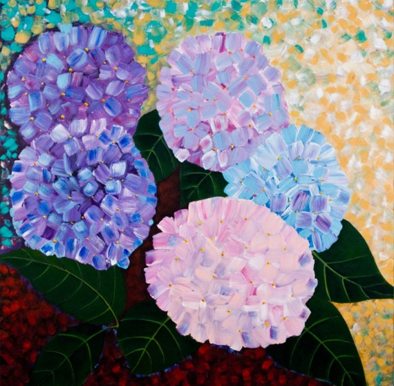 "Large square art, blue purple yellow green wall art, oil Impasto Floral wall art Wall Decor canvas art ""Beautiful Hydrangeas"" by QIQIGALLERY"