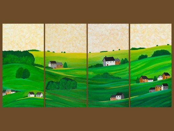 """Original Oil painting Painting landscape painting Wall Decor """"Pastures of Peace"""" by QIQIGALLERY"""