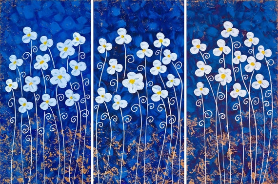 "Original Abstract Heavy Texture Palette Knife Painting ""White Flowers on Blue"" by QIQIGALLERY 36x24x0.8"
