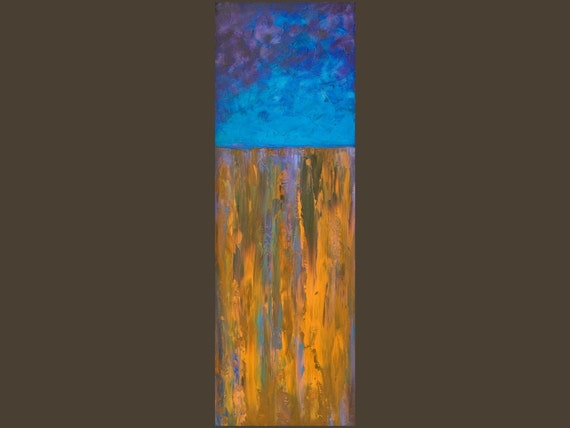 "Large Original Modern Abstract Heavy Texture Impasto Acrylic Painting ""The Cliff"" by QIQIGALLERY 12x36x0.8"