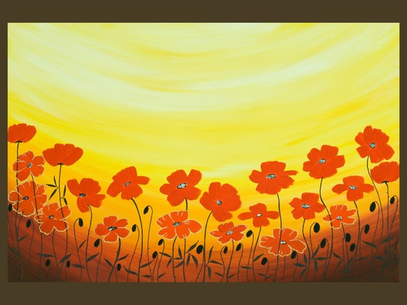 "Poppy Landscape painting original artwork wall art wall hanging canvas art home office wall decor ""Sun Ray Poppies"" by QIQIGALLERY"